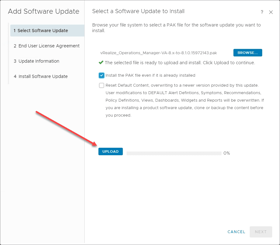Upload-the-vRealize-Operations-8.1-PAK-file VMware vRealize Operations 8.1 New Features and Upgrade Process