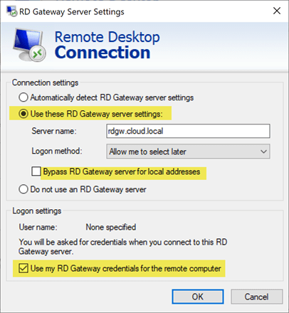 Use-RD-Gateway-settings-for-RDP-connection Remote Desktop Gateway Server 2016 or 2019 Configuration