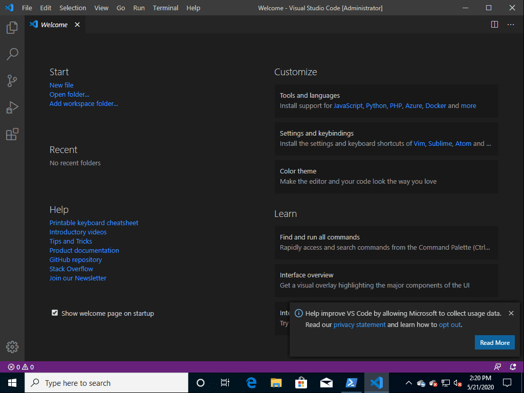 VSCode-launches-after-the-installation-using-the-winget-command Installing New Windows Package Manager Winget in Windows 10