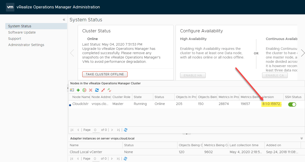 Verifying-the-version-installed-in-vROPs-Manager-8.1 VMware vRealize Operations 8.1 New Features and Upgrade Process