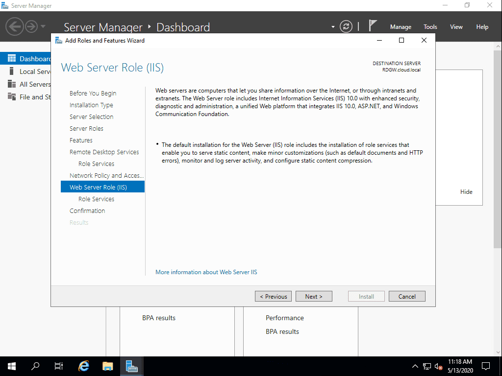 Web-Server-Role-IIS-is-added-to-the-Remote-Desktop-Gateway-server Remote Desktop Gateway Server 2016 or 2019 Configuration