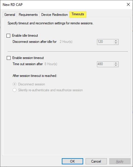 You-can-enable-timeouts-for-disconnects Remote Desktop Gateway Server 2016 or 2019 Configuration