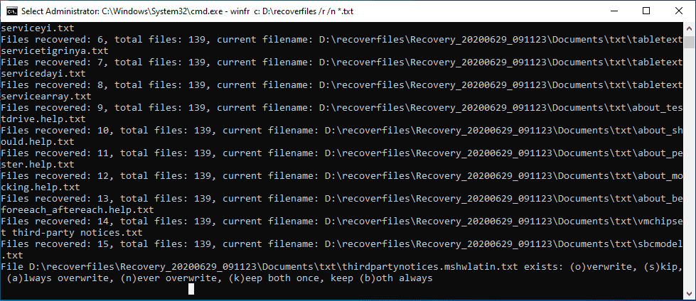 Deciding-what-to-do-with-any-conflicts Windows 10 v2004 recover deleted files with Windows File Recovery App