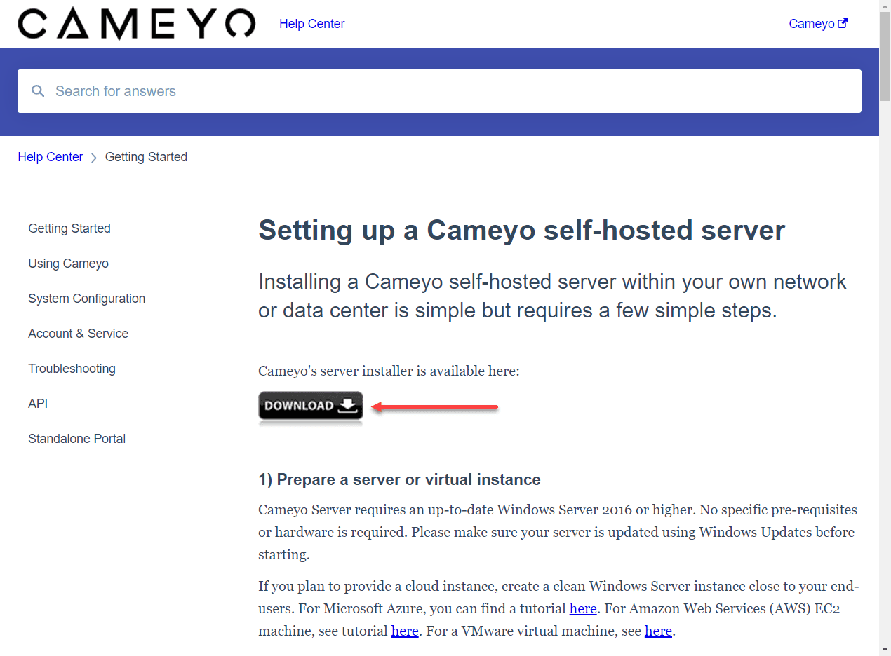 Download-the-self-hosted-installer Cameyo - Easy Digital Workspace for Remote Workers