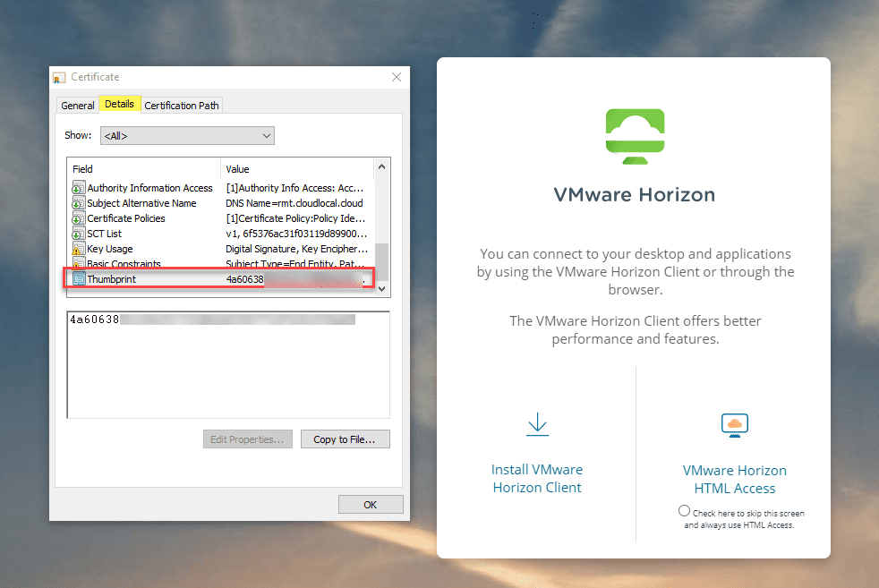 Get-the-thumbprint-of-the-certificate-to-add-to-the-UAG-box Install VMware Horizon 7 Lets Encrypt SSL Certificate