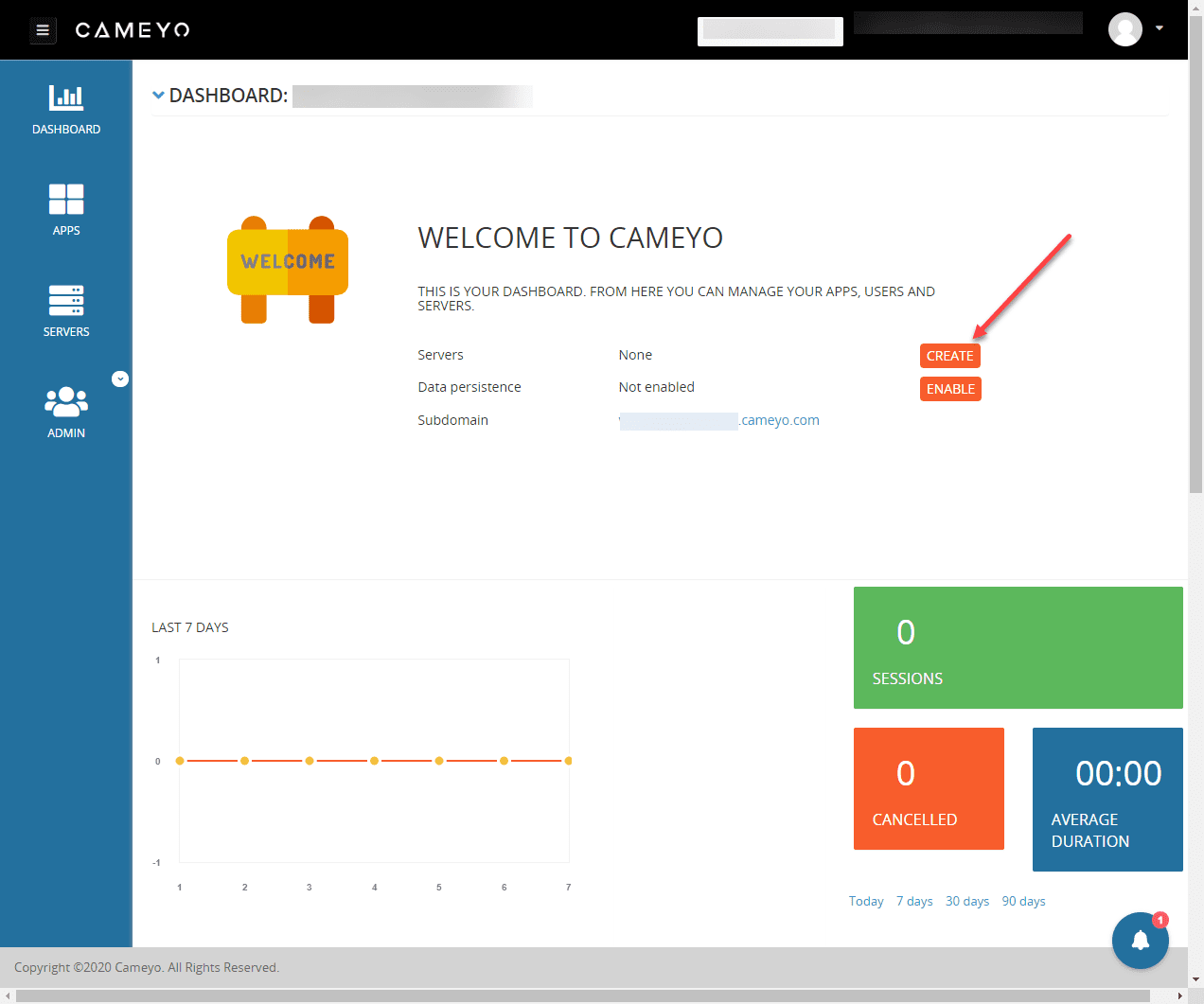 Logging-into-your-Cameyo-instance-and-creating-a-new-server Cameyo - Easy Digital Workspace for Remote Workers