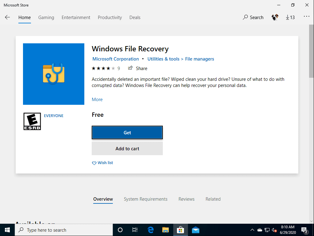Search-for-Windows-File-Recovery-in-the-Microsoft-Store Windows 10 v2004 recover deleted files with Windows File Recovery App