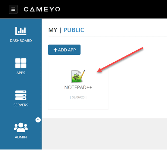 The-Notepad-app-has-been-published-in-the-Cameyo-dashboard Cameyo - Easy Digital Workspace for Remote Workers
