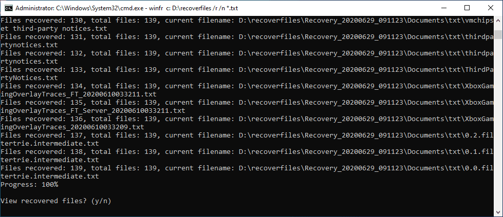 View-recovered-files-after-the-process-completes Windows 10 v2004 recover deleted files with Windows File Recovery App