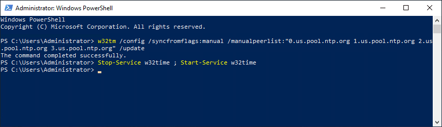 Configuring-the-time-source-for-your-domain-with-the-w32tm-utility Set NTP Server Windows 2016 or Windows 2019