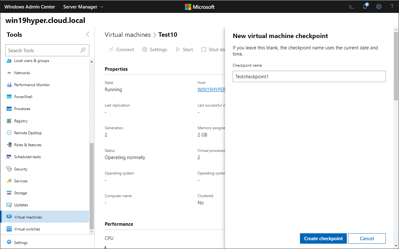 Creating-a-new-virtual-machine-checkpoint-with-WAC Hyper-V Server 2019 Windows Admin Center Management