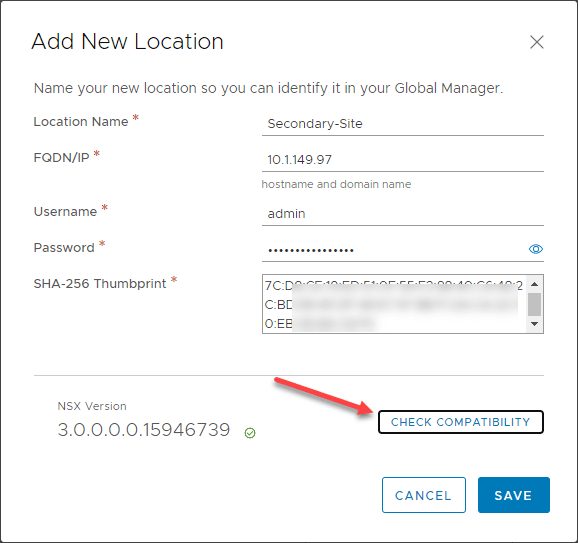 Enter-connection-information-for-the-NSX-Manager-and-check-compatibility VMware NSX-T Global Manager Appliance Install