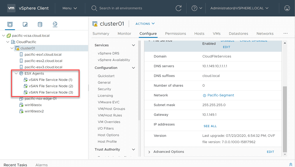 File-service-agents-deployed-successfully vSAN NFS Share Configuration in VMware vSphere 7.0