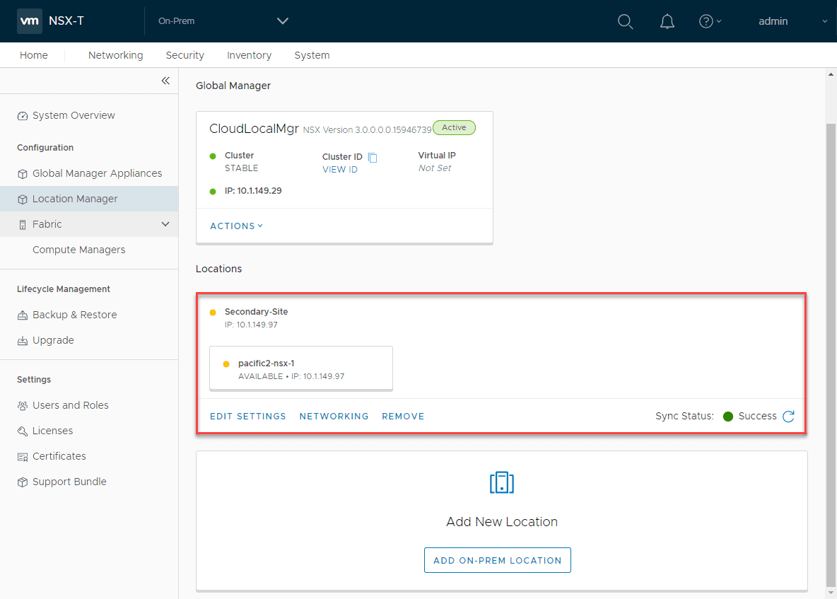 Secondary-NSX-site-is-added-successfully-to-the-NSX-global-manager VMware NSX-T Global Manager Appliance Install