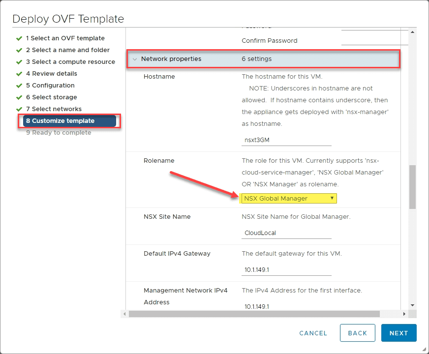 Selecting-the-NSX-Global-Manager-rolename-under-the-network-properties-of-the-NSX-T-unified-appliance-OVA VMware NSX-T Global Manager Appliance Install