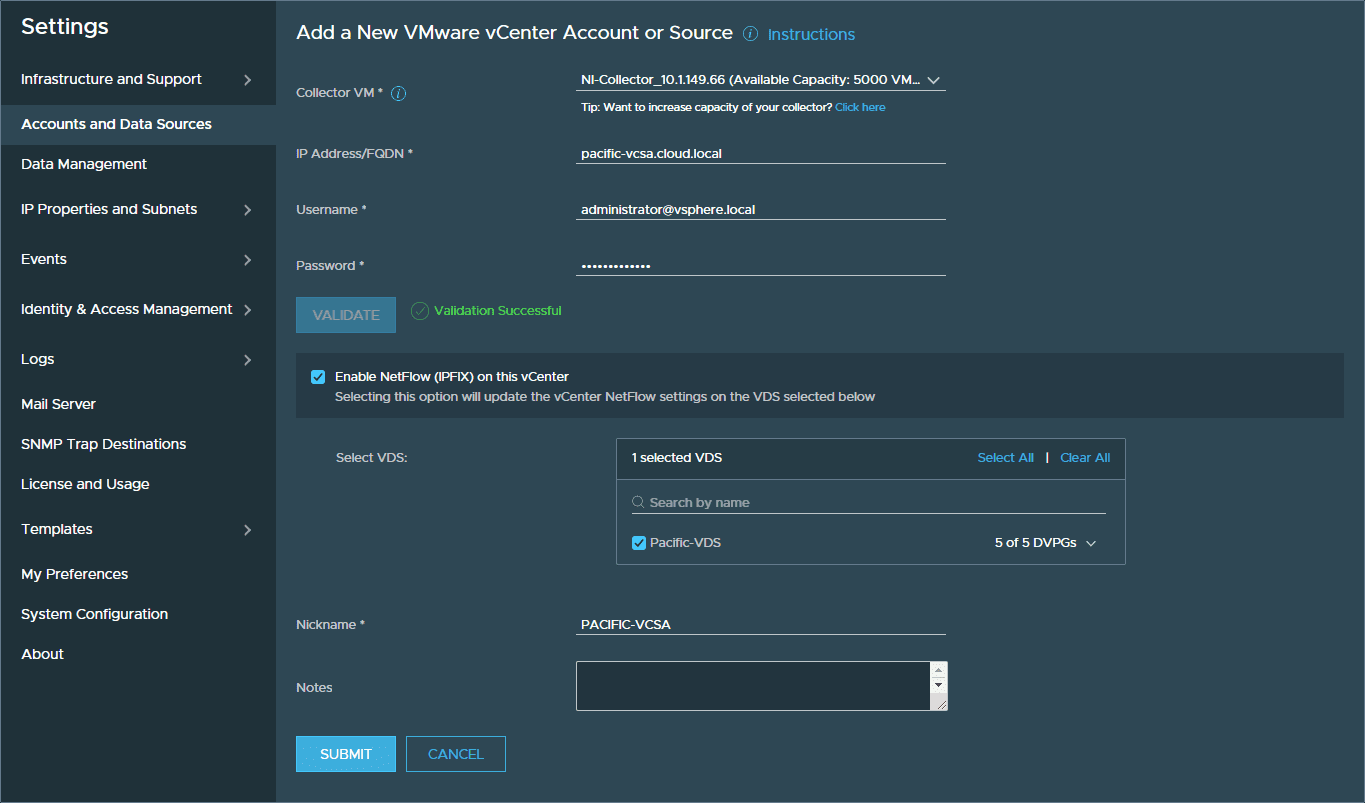 Validate-the-vCenter-connection-netflow-and-VDS-before-submitting