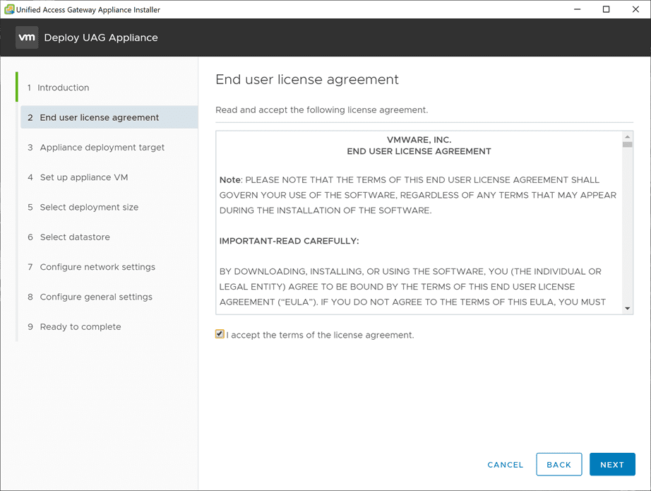 Accept-the-EULA-for-the-UAG-Appliance-installer VMware Unified Access Gateway UAG 3.10 Upgrade