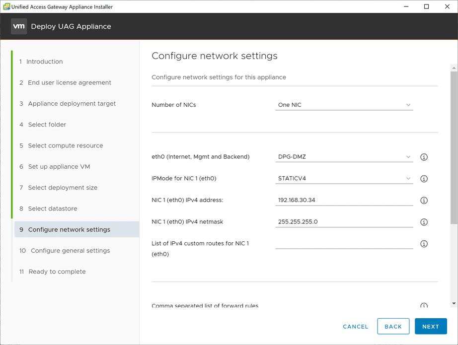 Configure-the-network-settings-for-the-new-Unified-Access-Gateway-3.10-appliance VMware Unified Access Gateway UAG 3.10 Upgrade