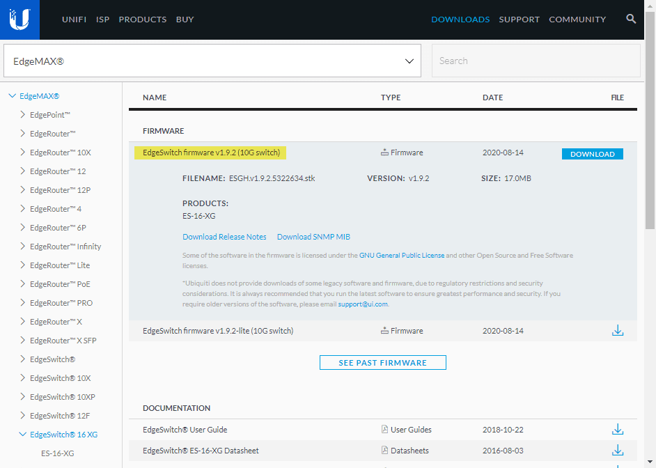 Downloading-the-latest-firmware-for-the-Ubiquiti-EdgeSwitch-16-XG-switch VMware vSAN Home Lab 10 gig Network Switch Upgrade