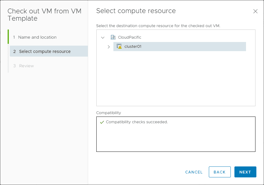 Select-the-compute-resource-for-the-check-out-process VMware vCenter 7 Content Library VM Template Versioning and Management