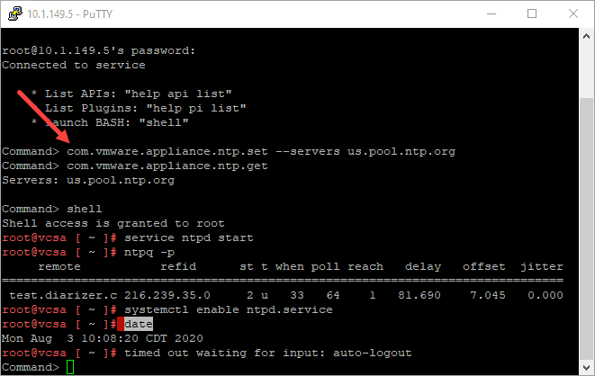 Setting-the-NTP-servers-from-the-command-line-on-the-VCSA-appliance NTP Error Upgrading vCenter Server VCSA 6.7 to 7.0