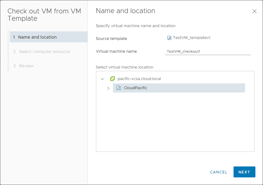 Setting-the-name-and-location-on-the-check-out-wizard VMware vCenter 7 Content Library VM Template Versioning and Management