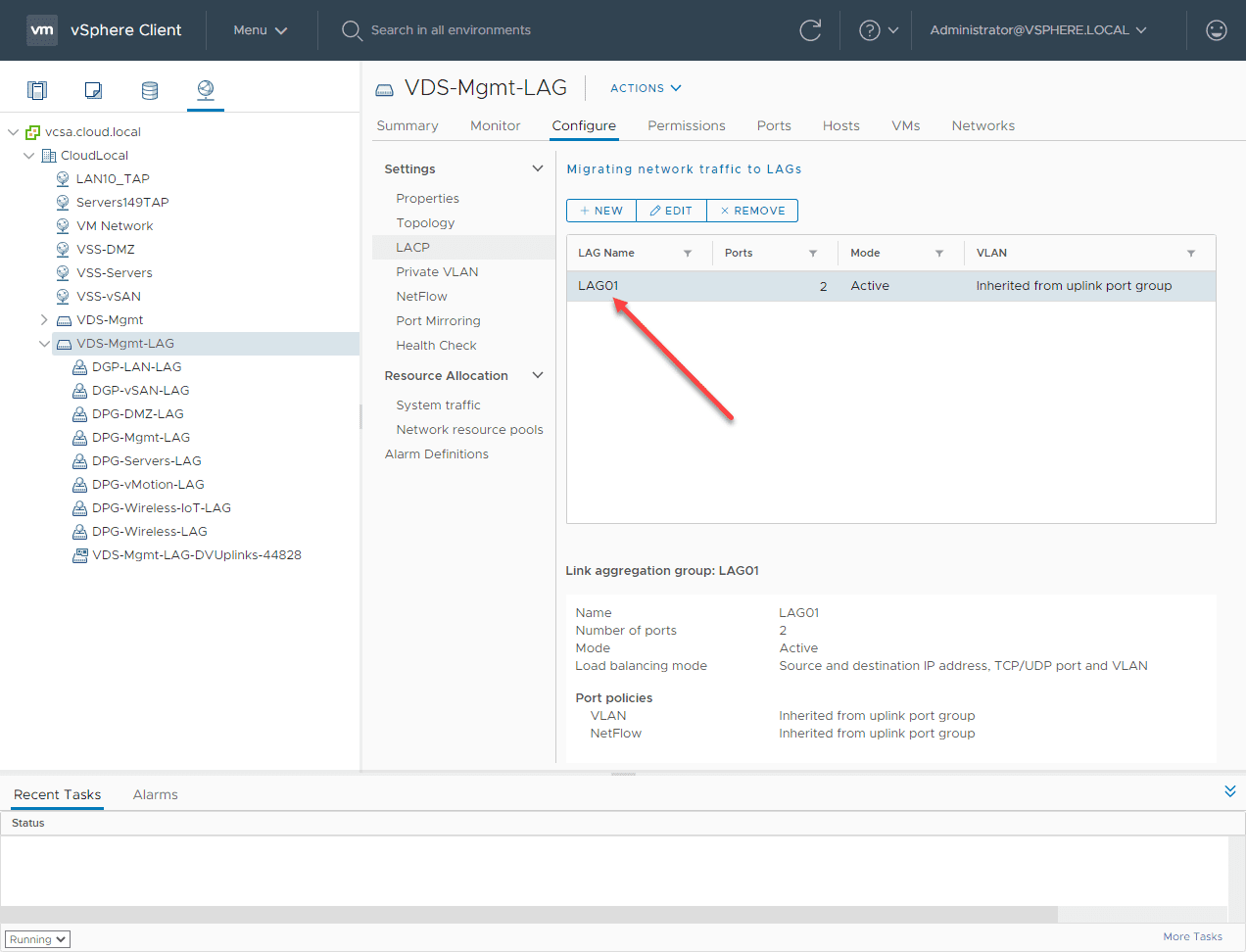 New-LACP-LAG-is-created VMware LACP Load Balancing Mode in vSAN