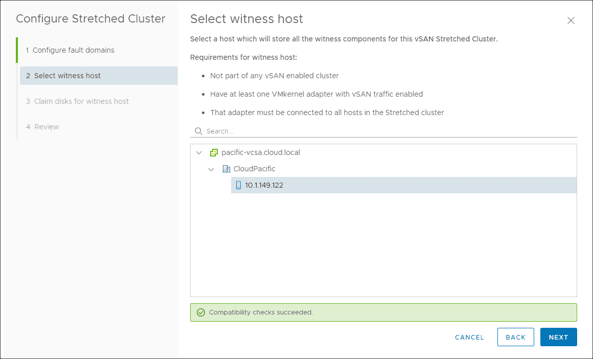 Select-the-witness-host-for-the-stretched-cluster Configure VMware vSAN 7 Stretched Cluster