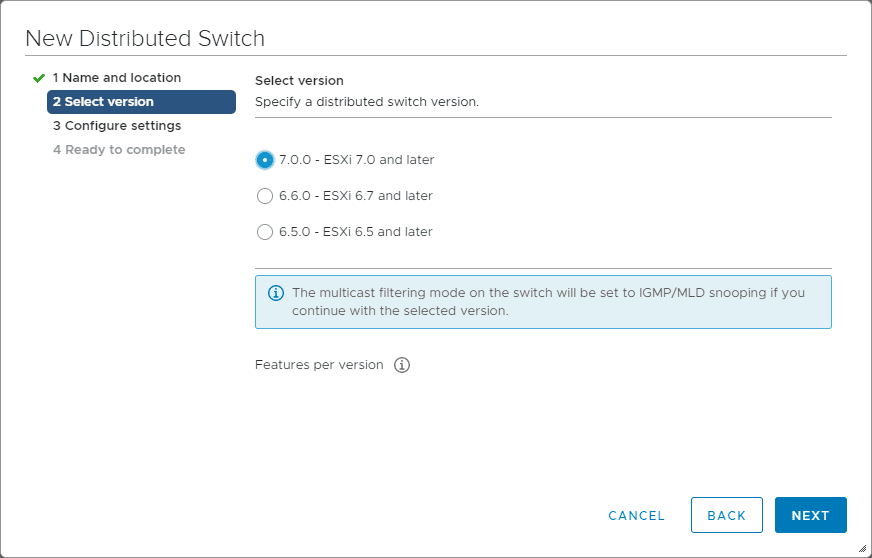 Selecting-the-vDS-version VMware LACP Load Balancing Mode in vSAN
