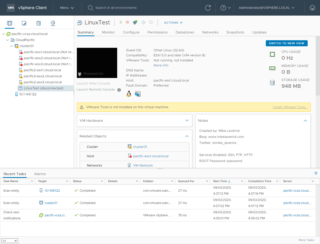 The-Linux-VM-is-now-off-and-disconnected VMware vSAN Stretched Cluster Failover
