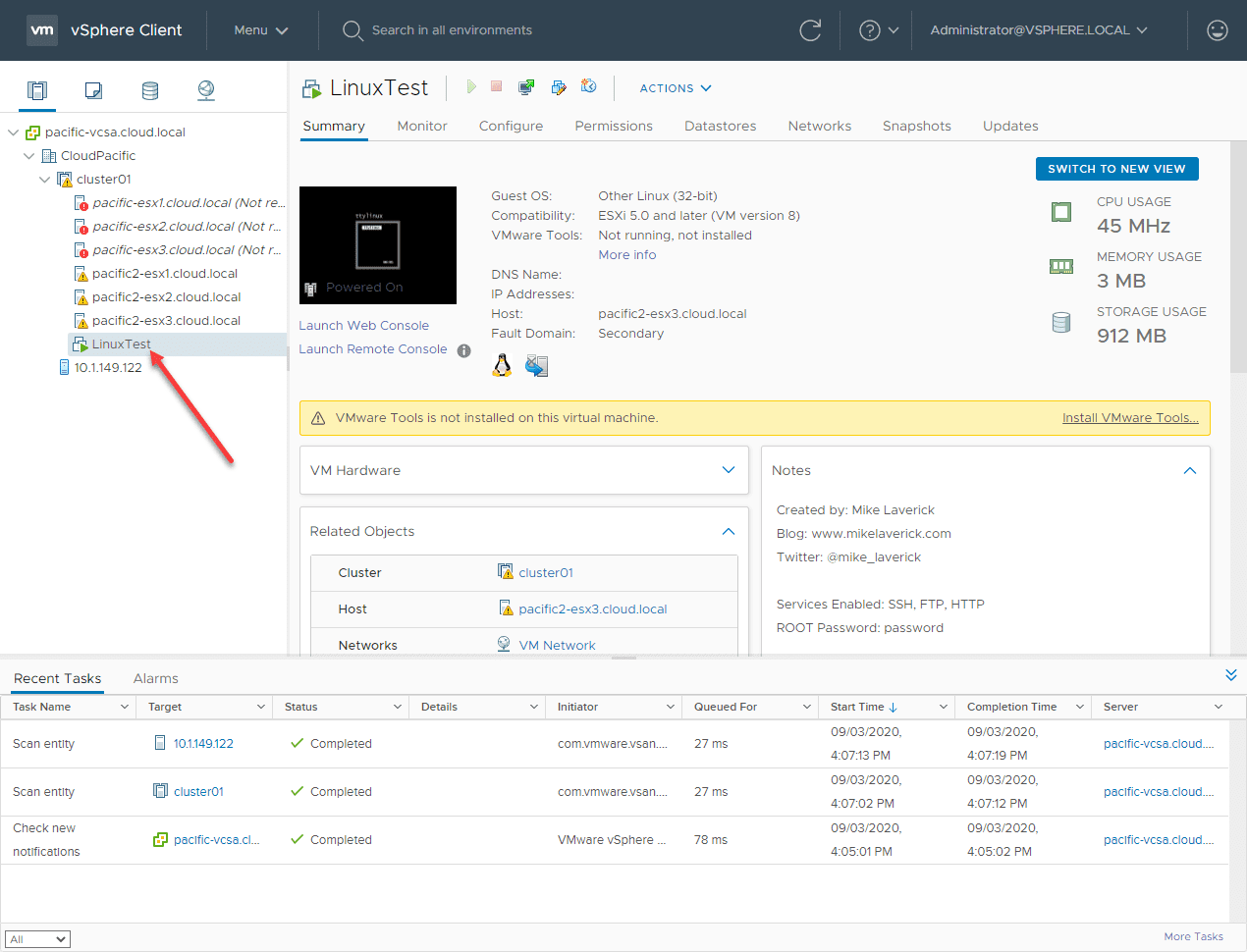 VMware-vSphere-HA-takes-over-and-has-restarted-the-Linux-test-machine-on-the-secondary-site VMware vSAN Stretched Cluster Failover