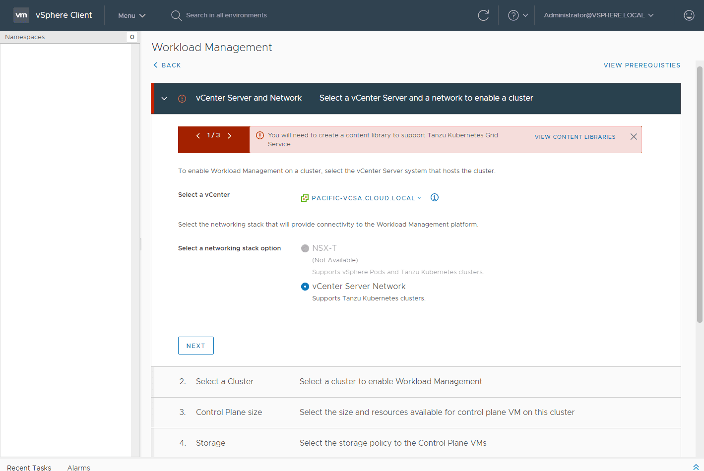 Choose-the-vCenter-Server-and-network Configure VMware vSphere with Tanzu Workload Management