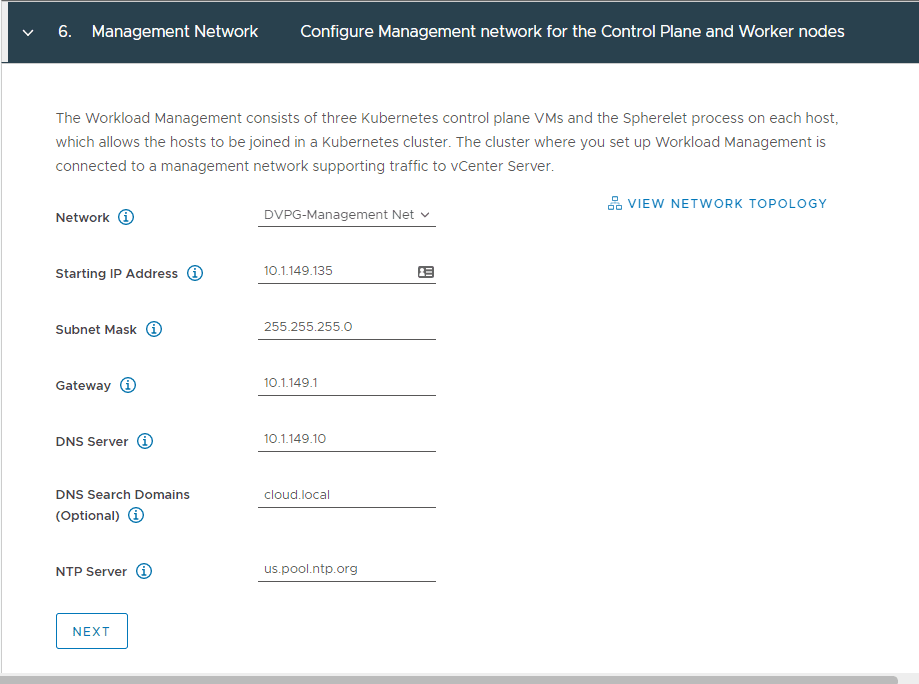 Configure-the-management-network Configure VMware vSphere with Tanzu Workload Management