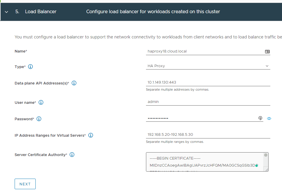 Enter-load-balancer-details-for-the-HAproxy Configure VMware vSphere with Tanzu Workload Management