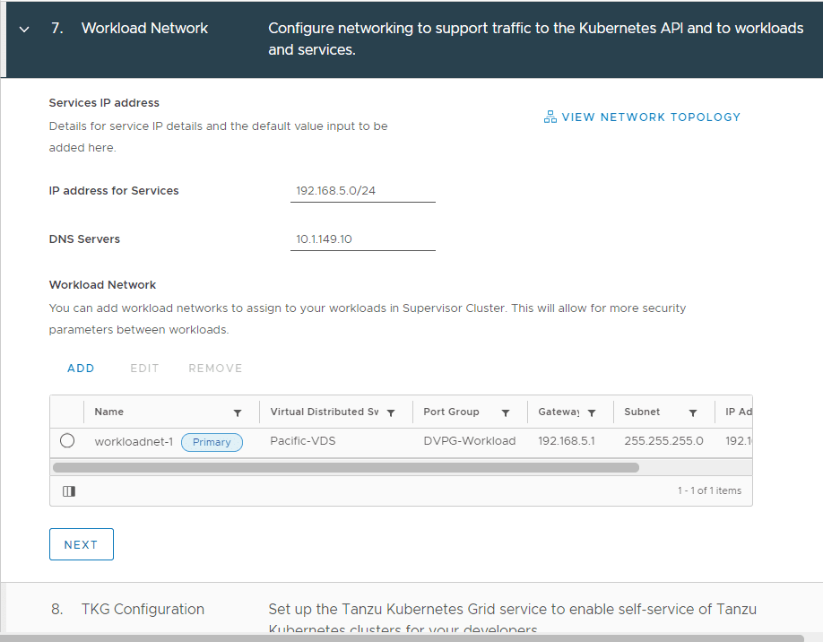 Finalizing-the-workload-network-creation Configure VMware vSphere with Tanzu Workload Management