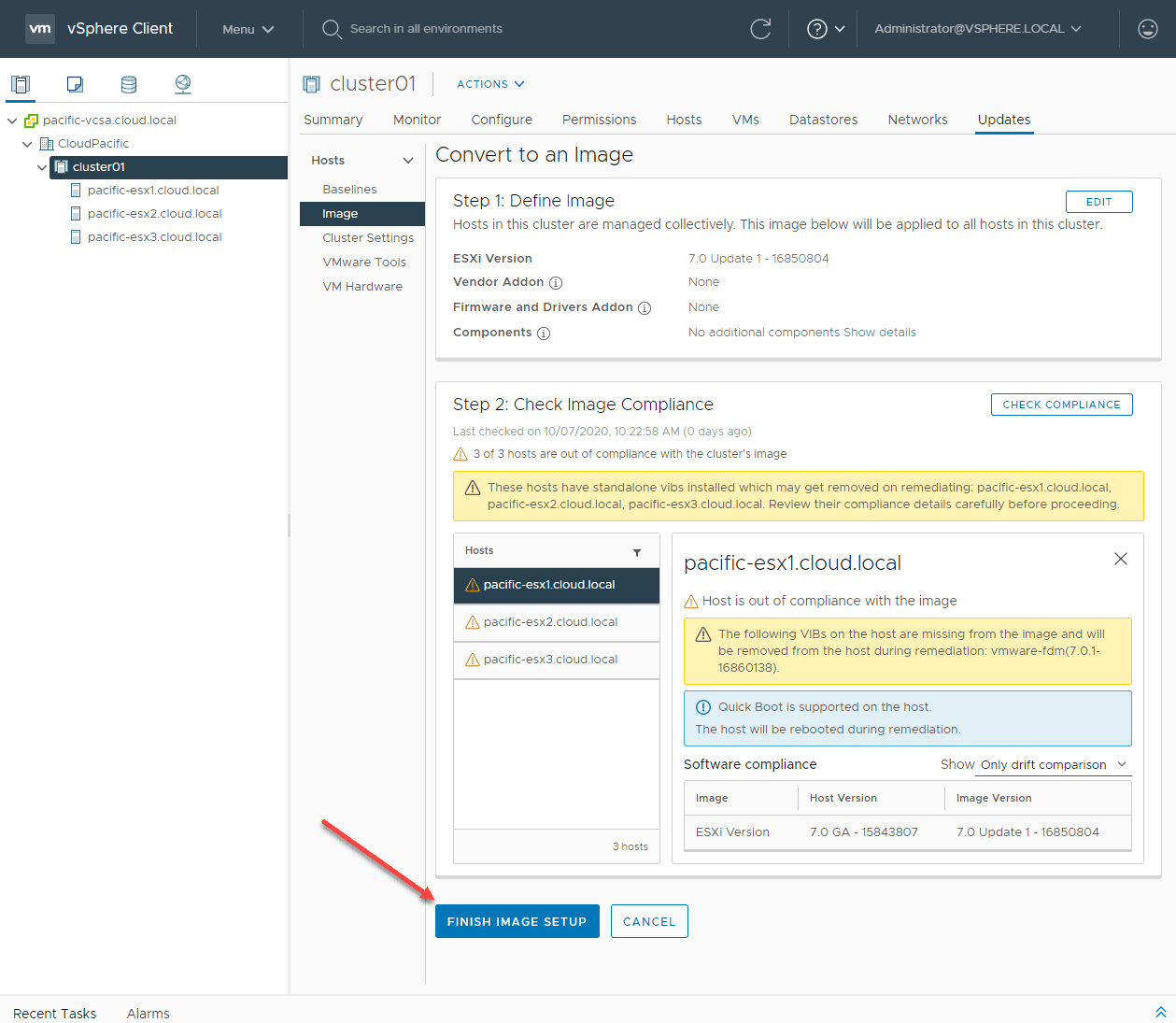 Finish-image-setup-in-vSphere-Lifecycle-Manager Upgrade to ESXi 7 Update 1 using vSphere Lifecycle Manager VLCM