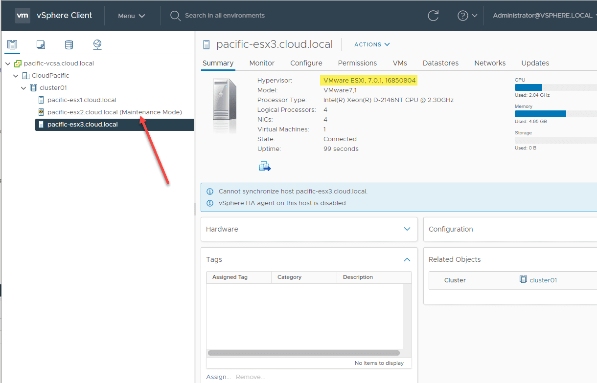Last-host-is-placed-into-maintenance-mode Upgrade to ESXi 7 Update 1 using vSphere Lifecycle Manager VLCM
