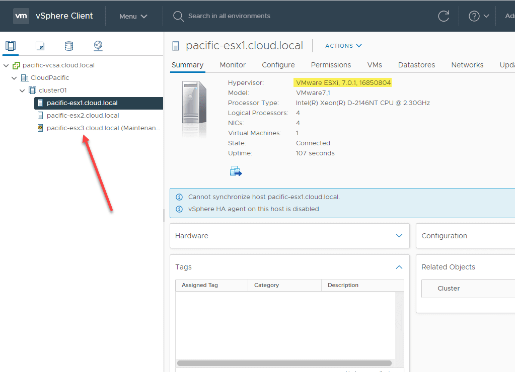 Next-host-is-placed-into-maintenance-mode Upgrade to ESXi 7 Update 1 using vSphere Lifecycle Manager VLCM