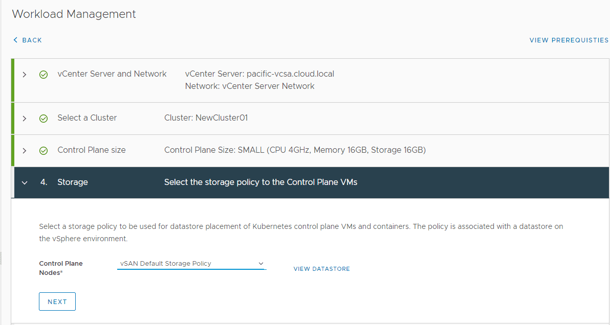 Select-storage-for-the-control-plane Configure VMware vSphere with Tanzu Workload Management