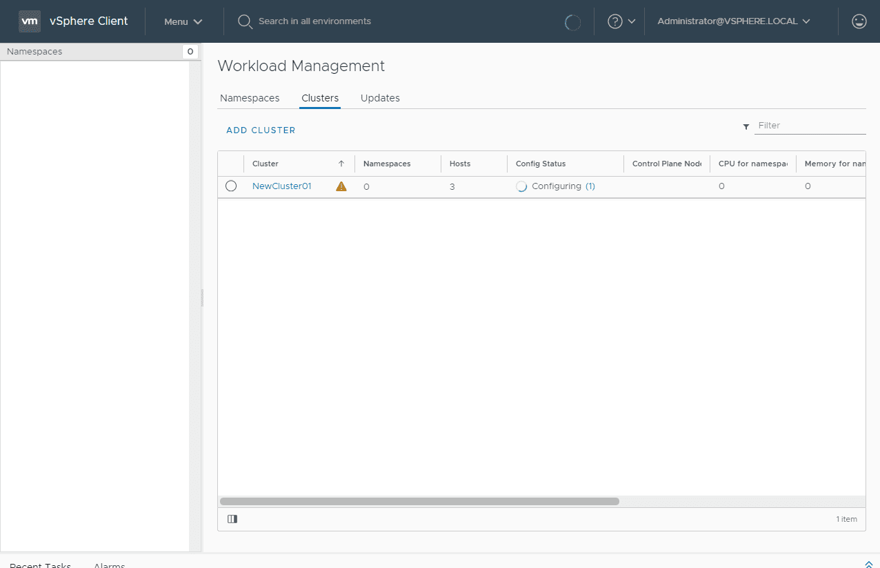 Workload-Managmeent-components-starting-to-provision Configure VMware vSphere with Tanzu Workload Management