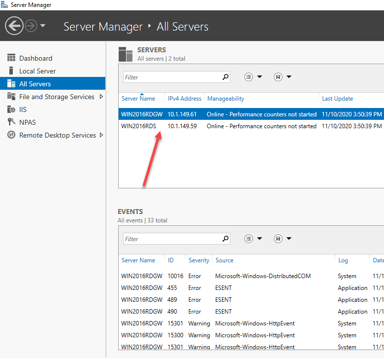 Add-both-your-RDS-and-RDGW-servers-to-Server-Manager Windows Server 2016 Install Remote Desktop Services