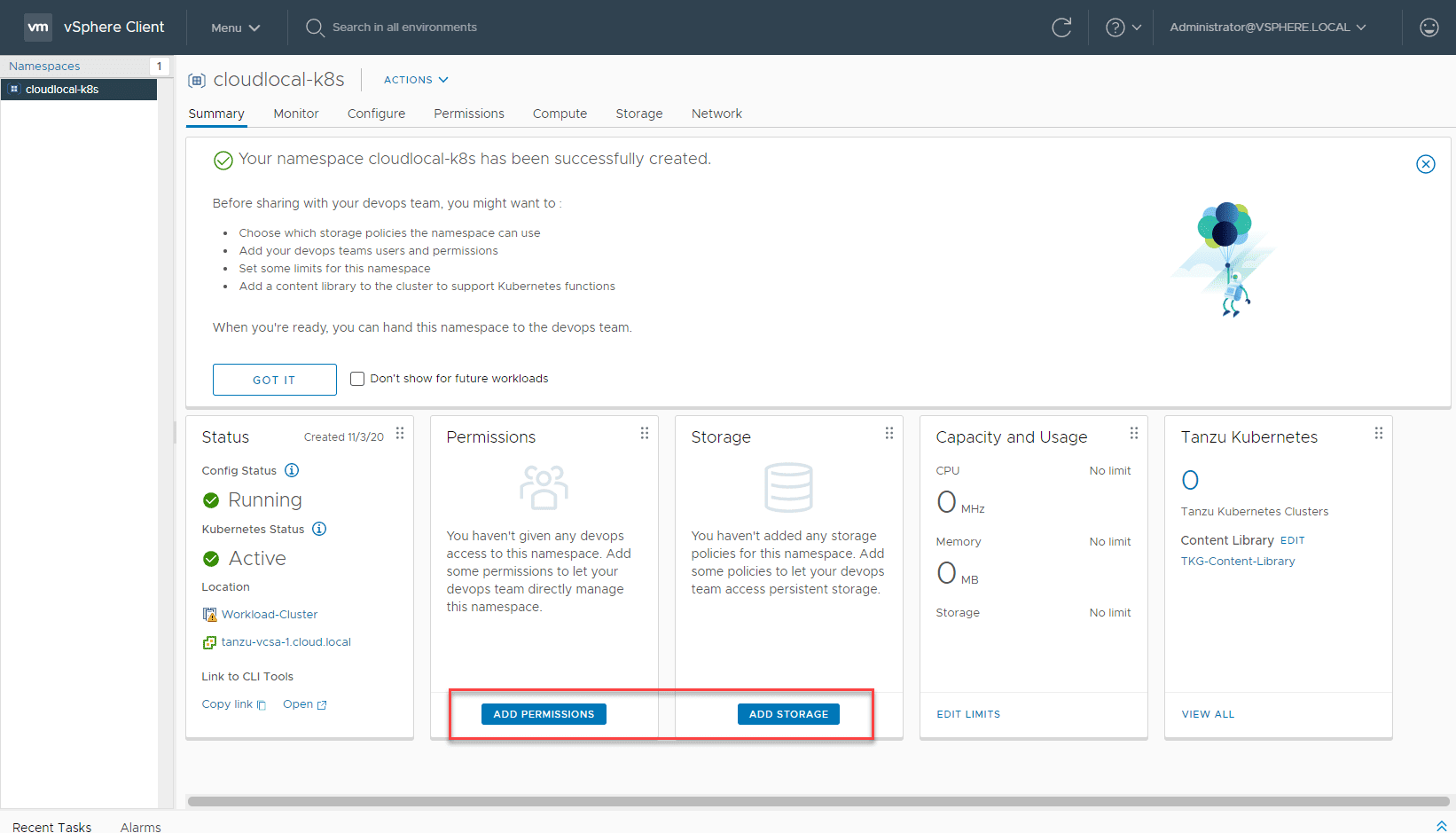 Add-permissions-and-storage-policy-to-the-namespace How to Create a vSphere with Tanzu Namespace