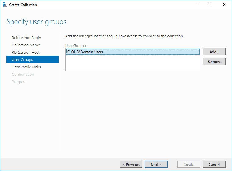 Choose-user-groups-for-the-collection Windows Server 2016 Install Remote Desktop Services