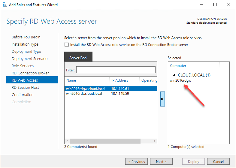 Choosing-the-RD-Web-Access-server-in-the-Windows-Server-2016-Remote-Desktop-Services-deployment Windows Server 2016 Install Remote Desktop Services