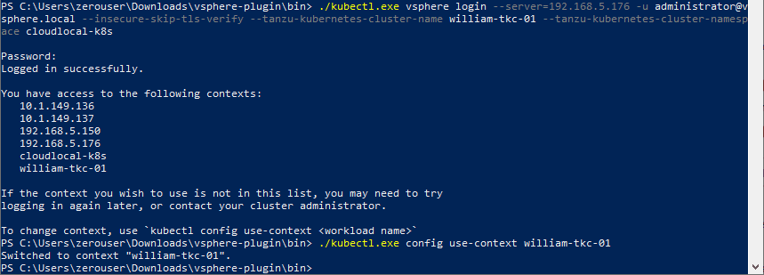 Logging-into-the-TKG-cluster-and-changing-context-to-the-workload-name How to Create a vSphere with Tanzu Namespace