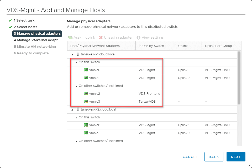 Physical-adapters-assigned-in-nested-ESXi-environment VMware vSphere with Tanzu Nested Lab Networking Configuration