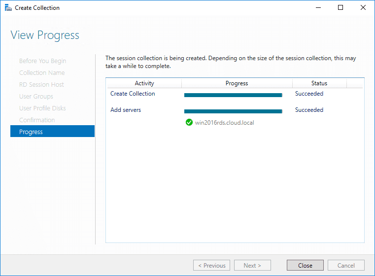 Remote-Desktop-collection-is-created-successfully Windows Server 2016 Install Remote Desktop Services