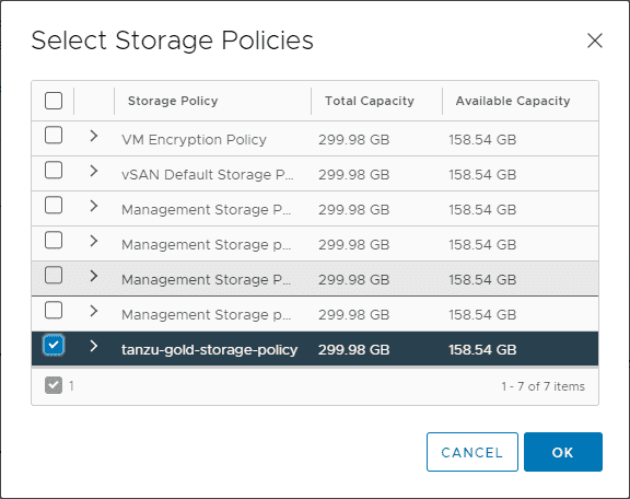 Select-the-storage-policy-to-assign-to-the-namespace How to Create a vSphere with Tanzu Namespace