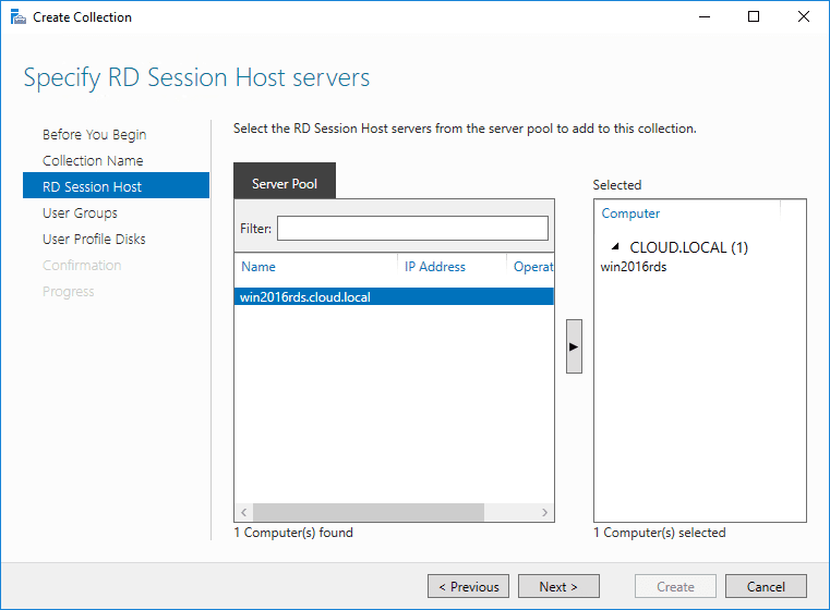 Specify-the-RD-Session-Host-server-for-the-RD-Collection Windows Server 2016 Install Remote Desktop Services