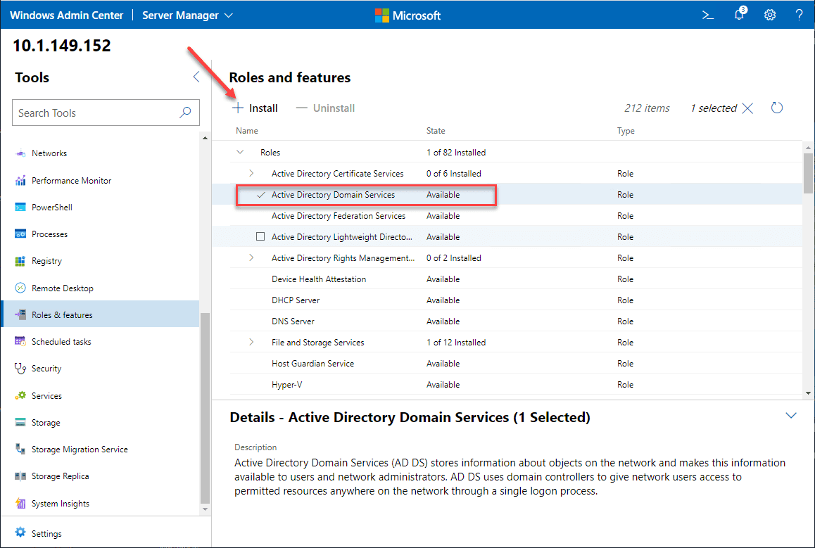 Adding the active directory domain services adds role using windows admin center